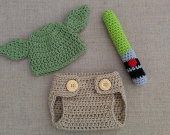 Crochet newborn Yoda Costume, Star Wars inspired baby photo prop hat, lightsaber, diaper cover, Baby Yoda outfit Newborn baby Yoda,