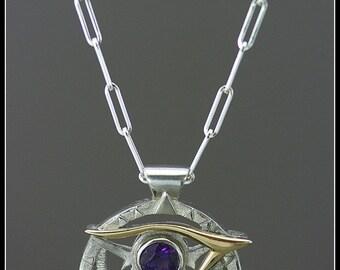 Egyptian pendant, eye of Horus necklace, third eye necklace, spiritual jewelry, solar necklace, handmade jewelry, egyptian jewelry, amethyst