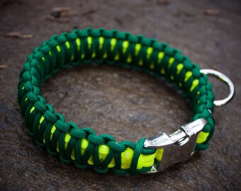 Oregon Ducks Paracord Dog Collar - Forest Green and Neon Yellow (Double Cobra Weave)
