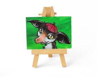 Aye Aye ACEO Painting Original Art, Aye-Aye, Lemur Gift, Animal Portrait, Zucchetto Skullcap, Catholic Cap, Wildlife Decor