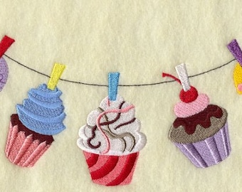 Cupcake Clothes Line Embroidered Towel | Embroidered Kitchen Towel | Flour Sack Towel | Embroidered Tea Towel | Dish Towel