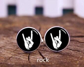 Rock Music Cuff Links, Rock Hand Cuff Links, Bony Cuff Links, Custom Any Hand Gesture, Wedding Cufflinks, Groom Cufflinks, Tie Clips Or Set