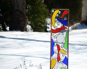 Copper and Stained Glass Garden Sculpture -  'Fantasy'
