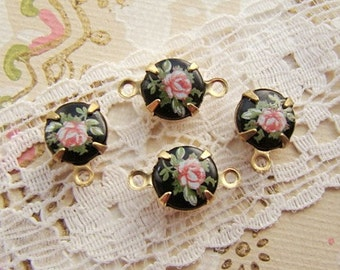 Vintage 8mm Round Pink Rose on Black Limoge Cameo Set Stones 39ss Raw Brass, Antique Silver or Black Drop or Link Settings - 4