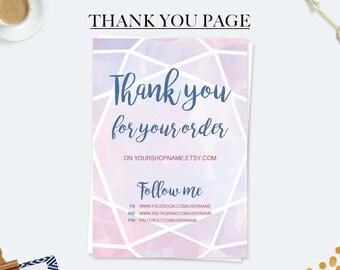 Card ringraziamento, bigliettini visita, card branding, grazie per l'ordine, business branding, grazie stampabile, card acquerello gemma