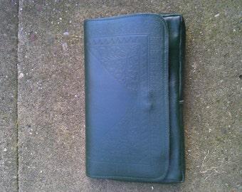Vintage 1980s Green Leather Clutch bag Handbag