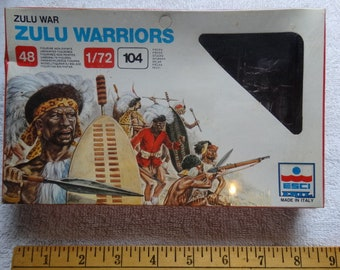 Zulu Warriors 1/72 scale 48 Soldier Figures ESCI Model Ertl #213 Military Miniatures c.1983 MISB War Games South Africa Battle Afrikaner