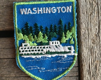 Washington State Ferry Vintage Souvenir Travel Patch from Voyager
