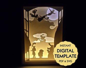 Template Peter Pan Paper Cut File, Silhouette Light Box Tutorial - PDF, SVG Digital Download