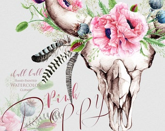 Watercolor Skull Bull Pink Poppy, Handpainted frames, poppies flowers, wedding invitations, boho, floral frame clipart, greeting cards
