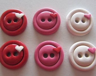 Simple Heart Buttons - Set of 6