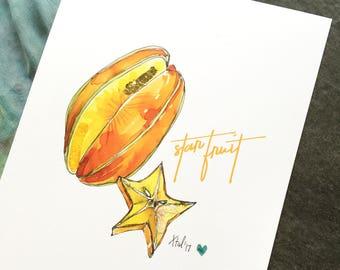 "Star Fruit - 8 x 10"" Art Print - Be Full of Fruit Collection"