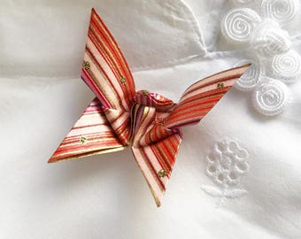 Origami Butterfly Pin (pink, orange stripe)