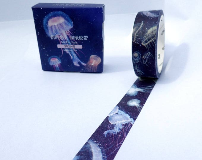 Jellyfish Washi Tape - Paper Tape Great for Scrapbooking Paper Crafts - Dark Background Deep Blue Sea 15mm x 7m
