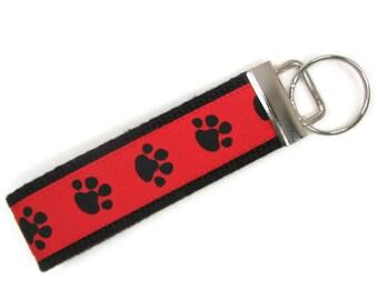 Red Paw Print Key Fob