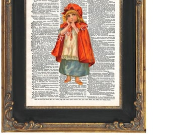 Little Red Riding Hood Art Print 8 x 10 on Dictionary Page - Altered Art Collage - Storybook - Chilldren's