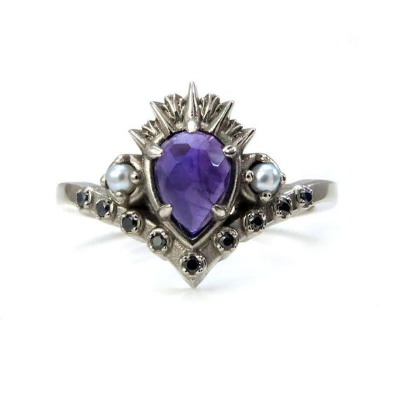 Ursula the Sea Witch Engagement Ring - Rose Cut Amethyst with Seed Pearls and Black Diamonds