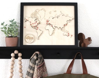 Personalized Push Pin Framed Wood World Travel Map | Custom Engraved Wooden Globe International Road Trip Going Away Graduation Gift