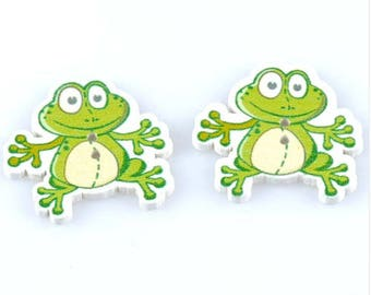 Set of 5 frog buttons