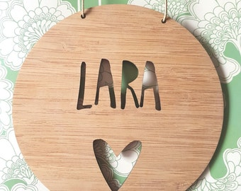 Personalised Name Wooden Wall / Door Hanging - Heart 14cm or 19.5cm-wall hanging-wall art-wooden sign-custom-kids gift-baby gift-lasercut
