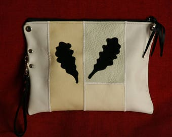 handbag, clutch, leather patchwork, white and white off
