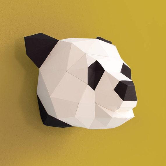 3d Origami Panda Head Pearl White Black