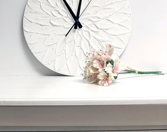 White flower decor White Clock LARGE  WALL CLOCK Wedding Gift White Wall clock with numbers Unique Wall Clock black and white