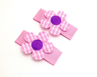 Pink Hair Clips. Toddler Hair Clips. Girl Snap Clip. Baby Hair Clip. Set of 2 Flower Hair Clip.