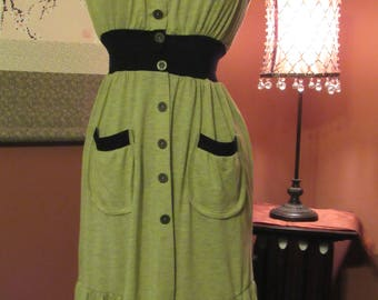 Sage Green and Black Strapless Day Dress with Functional Patch Pockets and Flutter Hemline - Size Small (Juniors)