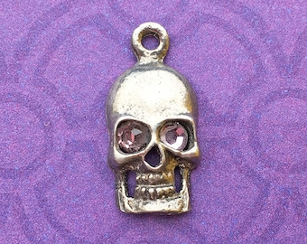 Handmade Skull Charm with Light Amethyst Crystal Eyes, June Birthstone, Lead Free Pewter, about 17mm x 9mm