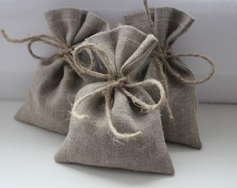 Set of 150 - Wedding Favor Bags. Grey Linen Favor Bags