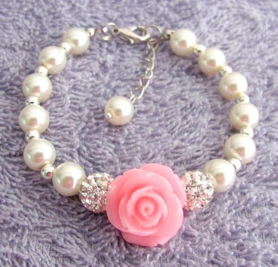 Flower Girl Bracelet, Flower Girl Gift, Pearl Childrens Bracelet, Pearl Childs Bracelet, Pearl Kids Bracelet,Girls Gift Free Shipping In USA