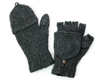 Wool Convertible Mittens, Texting Gloves, Hand Knit Glittens - Charcoal - 1559Y
