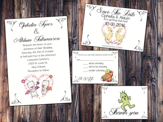 Final Fantasy Inspired Wedding Invitation Save the Date