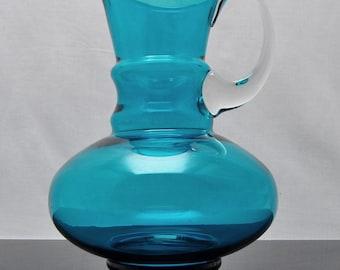 1960s Art Glass Turquoise Jug – Scandinavian?