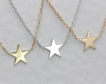 14k solid gold star necklace layering necklace star choker