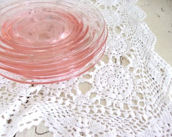Blush Pink Plates, Vintage Millennial Pink Glass Dishes, Mix and Match China, Tea Party Plates, Bridal Shower Decor