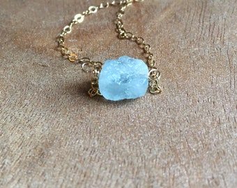 Aquamarine Necklace - Raw Aquamarine Necklace - Aquamarine Jewelry - Raw Aquamarine - March Birthstone - Aquamarine - Raw Crystal Necklace