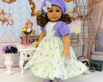 Lavender Dream - dress, jacket & beret with shoes for American Girl doll