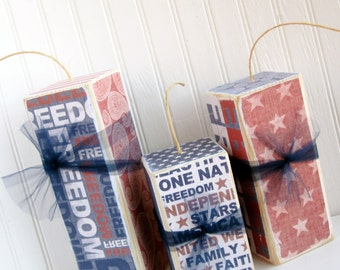 4th of July Set of 3 Large Wooden Fireworks 4th of July Decorations  Let Freedom Ring Independence Day Chunky Blocks