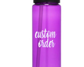 Water bottle, water bottle straw, personalized water bottle, custom bachelorette, 24 oz water bottle, custom water bottle,  bottle decal