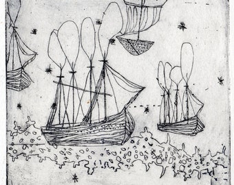 Etching Moon Yachts, Original Artists Proof, Black & White 5x5