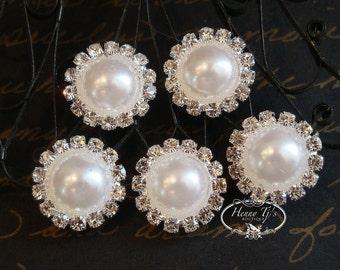 5 pcs - 15mm Silver Metal WHITE Pearl Crystal Rhinestone W/ SHANK Buttons Embellishments  - wedding / hair / Flower Center
