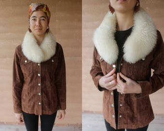 1970's faux suede wrangler with genuine shearling sheepskin collar jacket boho bohemian hippie 70's