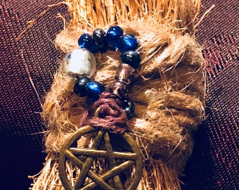 Besom (Witches' Broom): 9 inches. Mountain Laurel Handle, with Beads and Pentagram