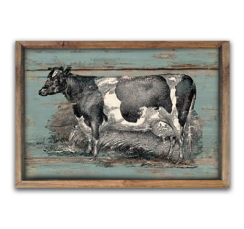 Wooden Vintage Style Cow Sign 19.25X13.25X2