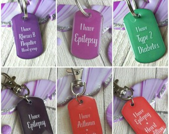 Medical alert, allergy information dogtag keyring clip, ICE information, emergency tag, medical condition, allergies, emergency contact