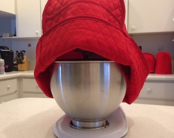 Red Mixer Cover Kitchen aid Quilted Fabric Small Appliance Cover Sewn and Ready to Ship