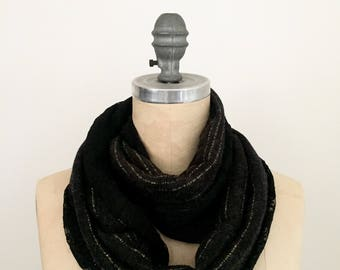 Infinity Scarf in Black Lace and Lurex Stripe Knit