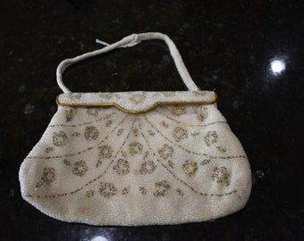 Vintage 1940's DeLill French handmade glass beaded purse